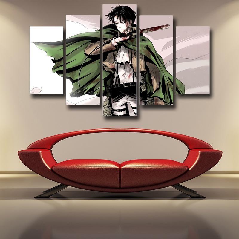 Attack on Titan Captain Levi 3D Printed 5 Panel Canvas ...