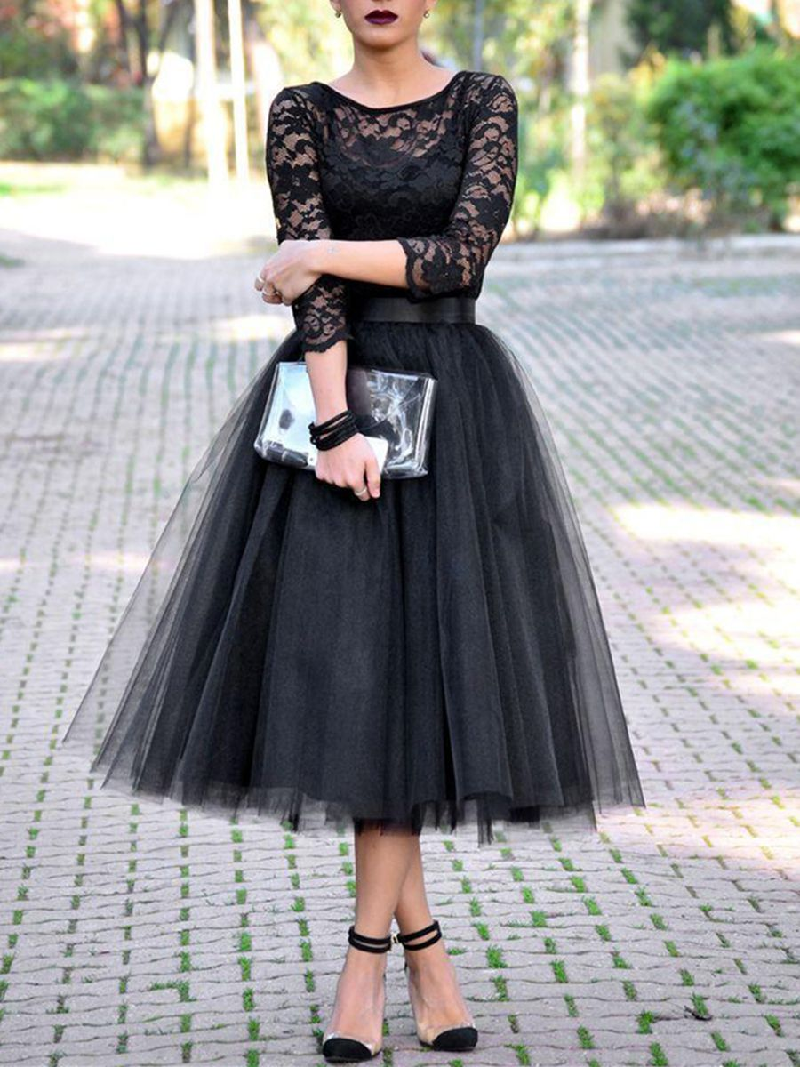 Aline scoop length sleeves lace tealength evening dress