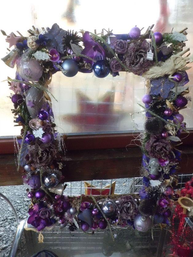 Weihnachtsdeko Lila.Adventskranz Gesteck Rahmen Weihnachtsdekoration Lila Ein