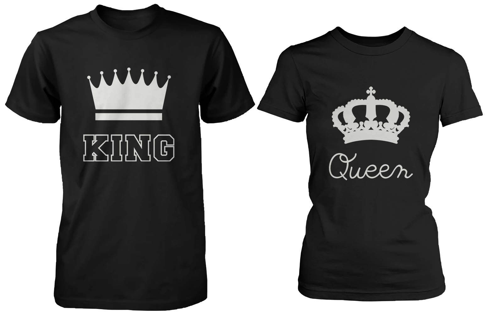 Cute Matching Couple Shirts King And Queen Black Cotton T