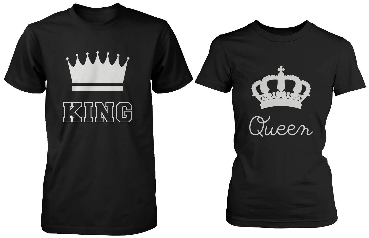 49cbeff05 Cute Matching Couple Shirts King and Queen Black Cotton T-shirt Set ...