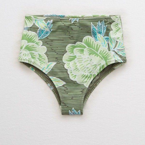007c74a29c69e Aerie High Waisted Cheeky Bikini Bottom ($21) ❤ liked on Polyvore featuring  swimwear, bikinis, bikini bottoms, green, high waisted bikini, high waisted  ...