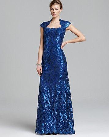 Tadashi Shoji Lace Gown - Cap Sleeve Square Neck Sequin | Bloomingdale's $428