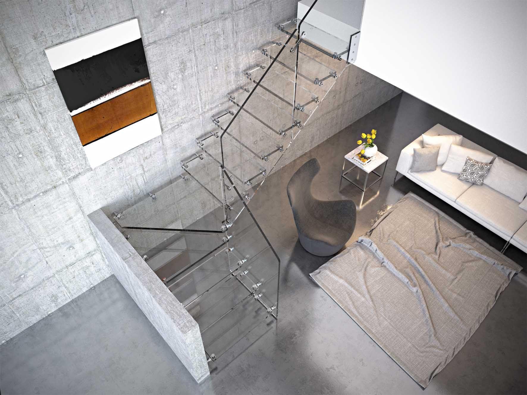 20 Impresionantes Escaleras De Cristal Para La Decoraci N De  ~ Barandillas De Cristal Para Escaleras Interiores