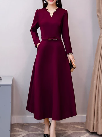 V Neck Patch Pocket Plain Maxi Dress -   14 cute dress Classy ideas