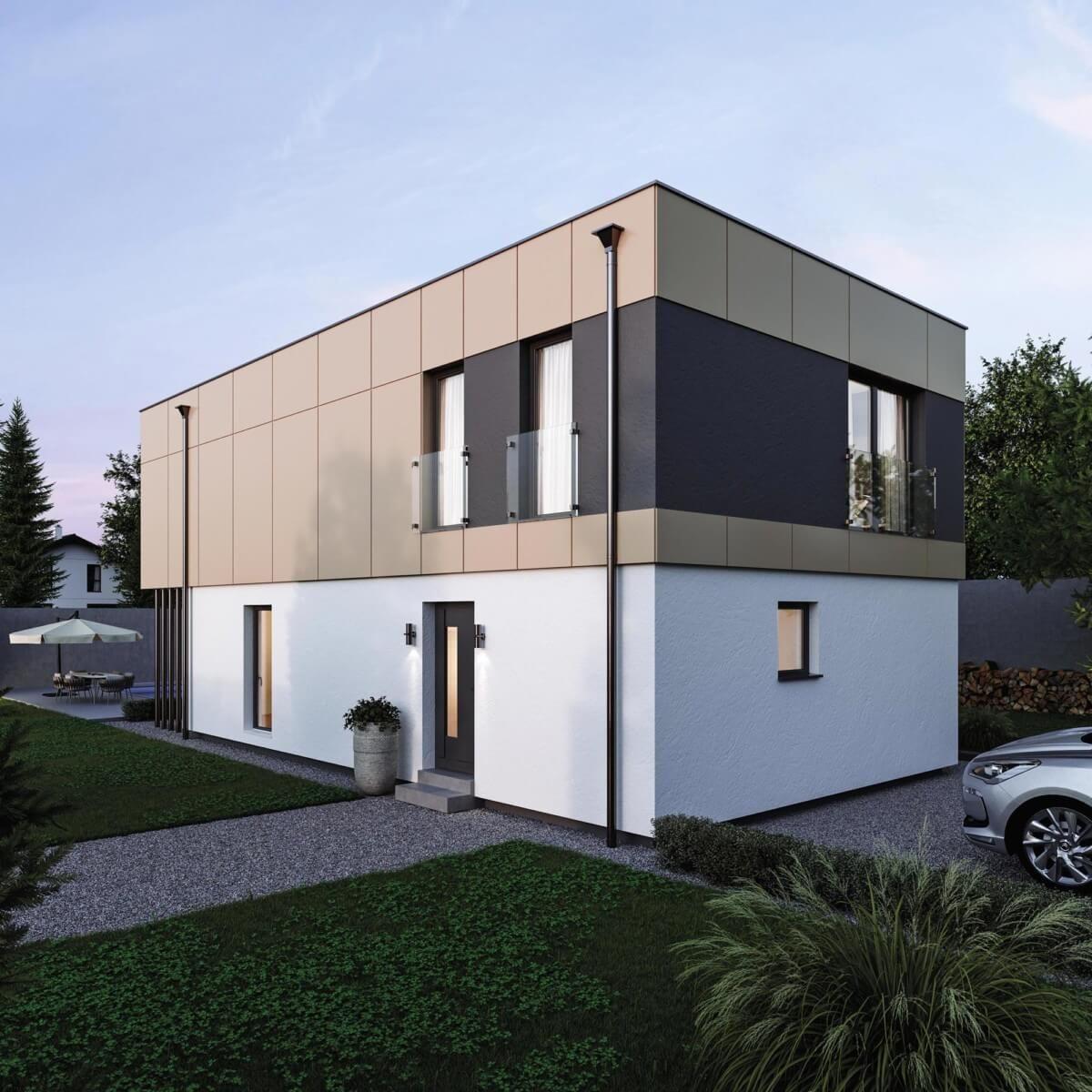Einfamilienhaus Neubau Design modern mit Flachdach