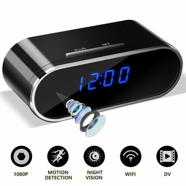 Mini WIFI Table Clock Internal Camera with Night Vision Home Security Nanny Cam for Surveillance 1080P HD Secret Video Recorder - 1080P / Cam with 64G TF Card