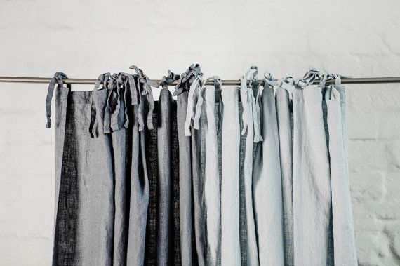 Dark grey/ graphite. Washed linen curtains/ linen drapes in dark ...