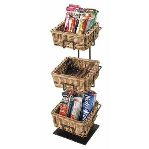 Black Wire 3 Tier Stand With Wicker Baskets 6 L X 6 W X 20 H