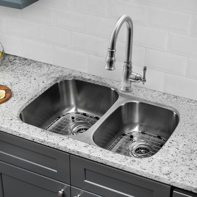 "Soleil 32"" x 20.75"" Double Bowl Undermount Kitchen Sink with Faucet"