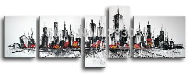 ... Directly From China Painting Mat Suppliers: Hand Painted Abstract New  York Night City Buildings Modern Landscape Oil Painting On Canvas Wall Art  5Pc ...