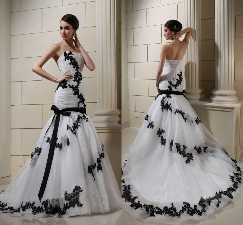 White and black lace wedding dresses 2015 spring applique white and black lace wedding dresses 2015 spring applique sweetheart lace up ruched tulle court train drop waist trumpet mermaid bridal gown ombrellifo Images