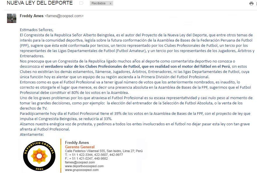 holaesungusto: DEPORTIVO COOPSOL DISCREPA CON NUEVO PROYECTO DE NUEVA LEY DEL DEPORTE PROMOVIDA POR EL CONGRESISTA ALBERTO BEINGOLEA