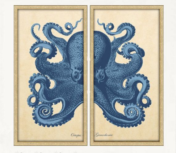 Octopus Diptych Two 18x36 Panels Nautical Octopus Sea Life Wall Home Decor