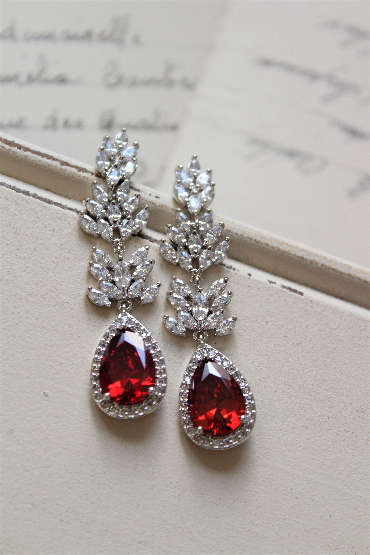 Red Art Deco Earrings Vintage Style Crystal Bridal Wedding