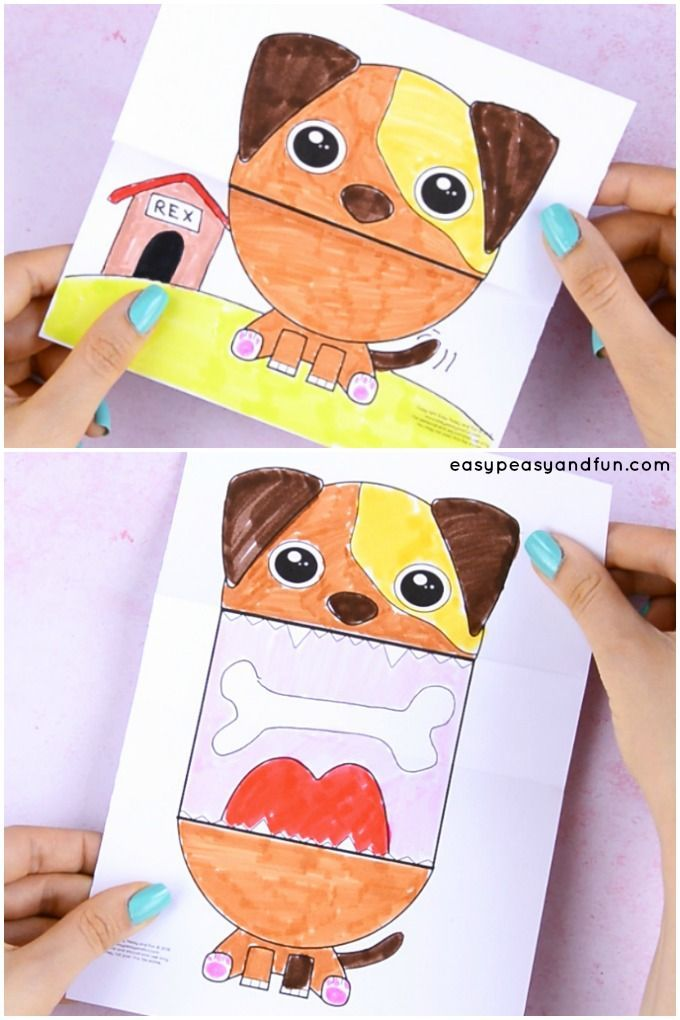 Coolest little dog craft for kids to make. Print the dog craft template, color it in and make your fun big mouth animal. This is a perfect rainy day activity that will entertain both big kids and small.