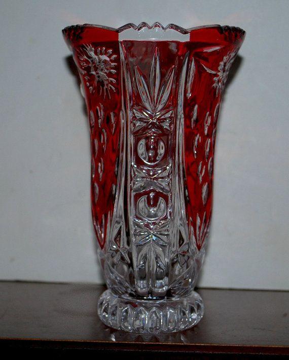 Red And Clear Crystal Vase Lead Crystal Vase German Crystal