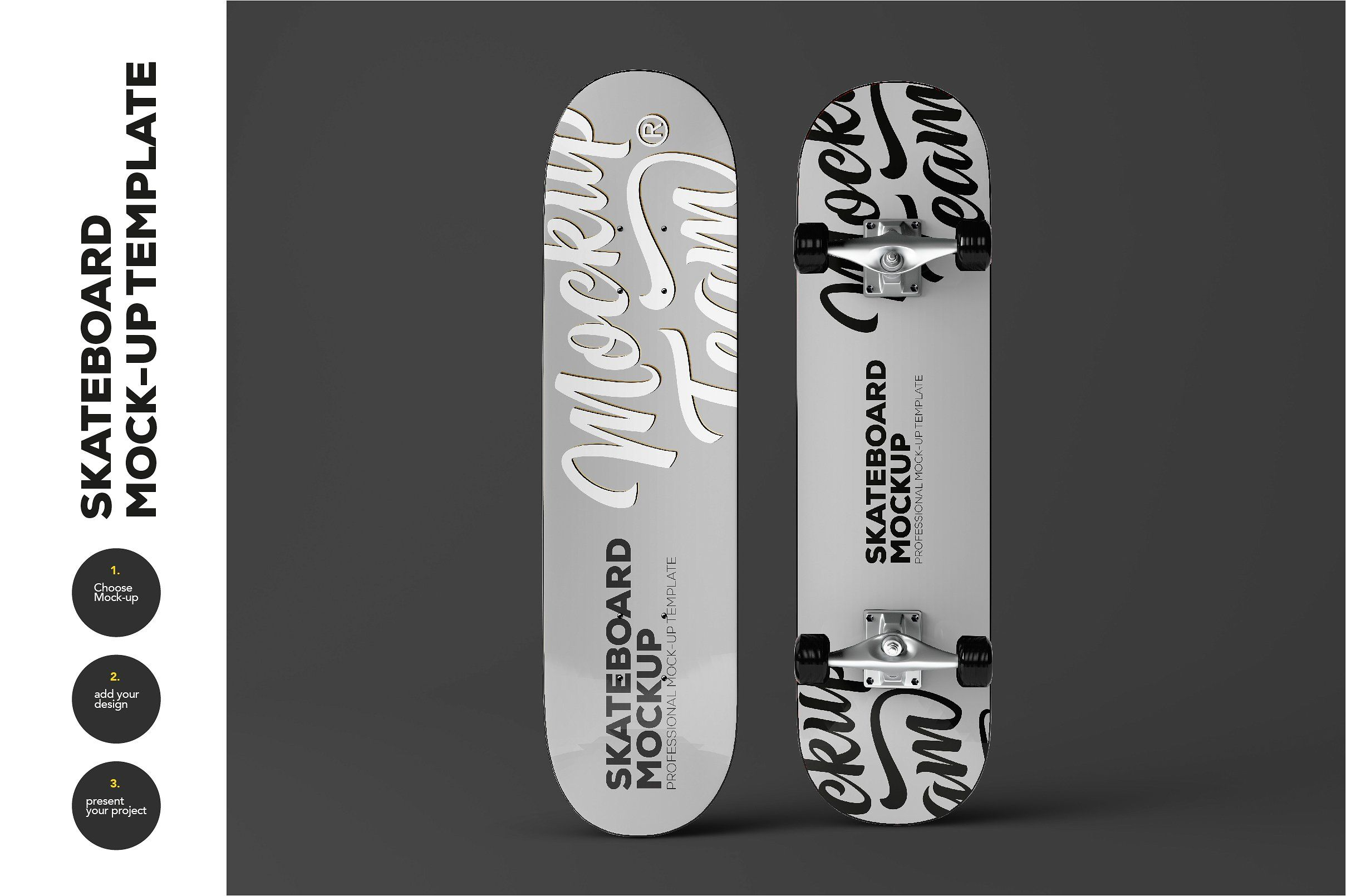 skateboard mock up template by mockupteam on creativemarket