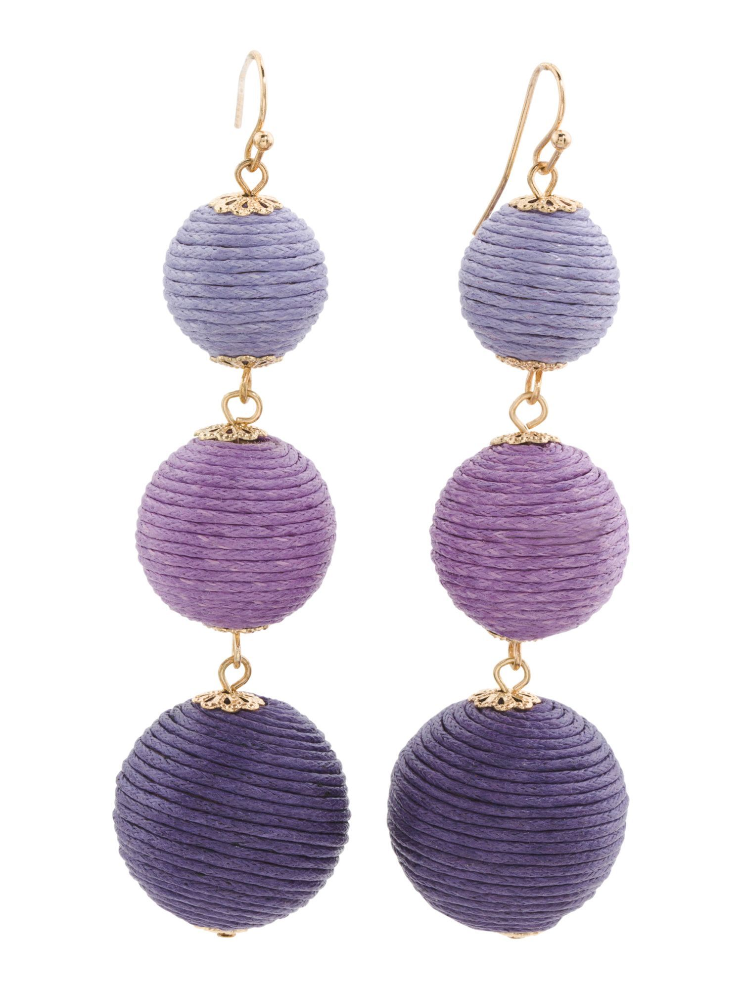 Handmade Thread Wrapped Tier Ombre Ball Earrings Products