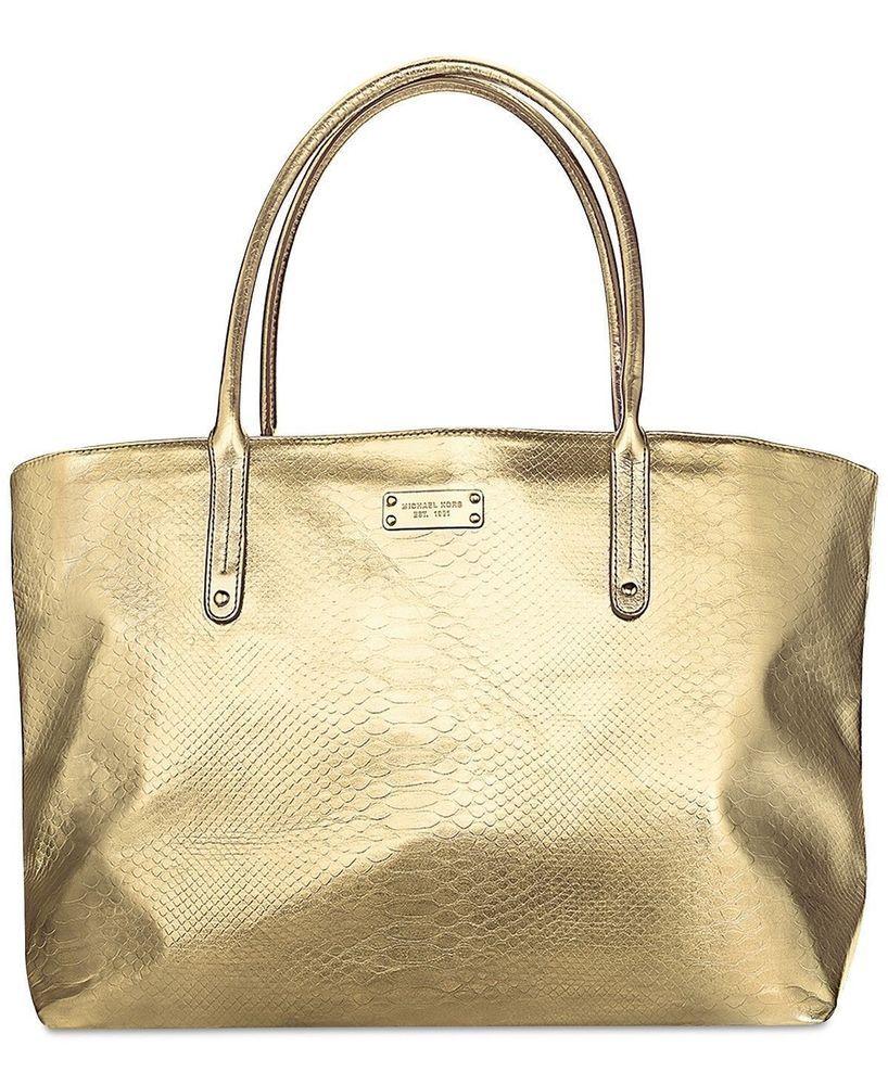 570b238074e MICHAEL KORS gold metallic tote bag purse shopper shoulder handbag travel  NEW