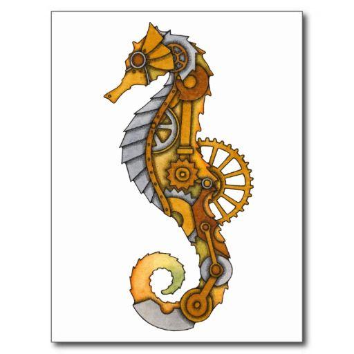 Steampunk Seahorse Postcard Zazzle Com Steampunk Coloring Seahorse Art Seahorse Drawing