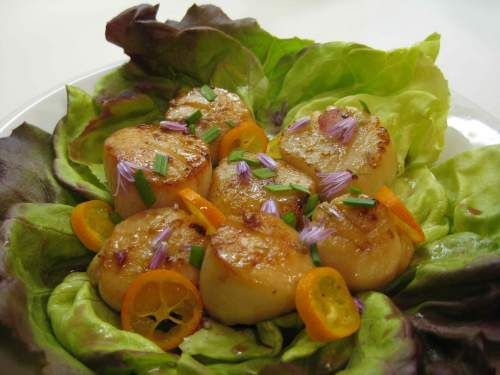 """Sea Scallops with Orange """"Aigre-doux"""" (waterbath canned) and Chives from 200 Birdies via Prospect: The Pantry"""