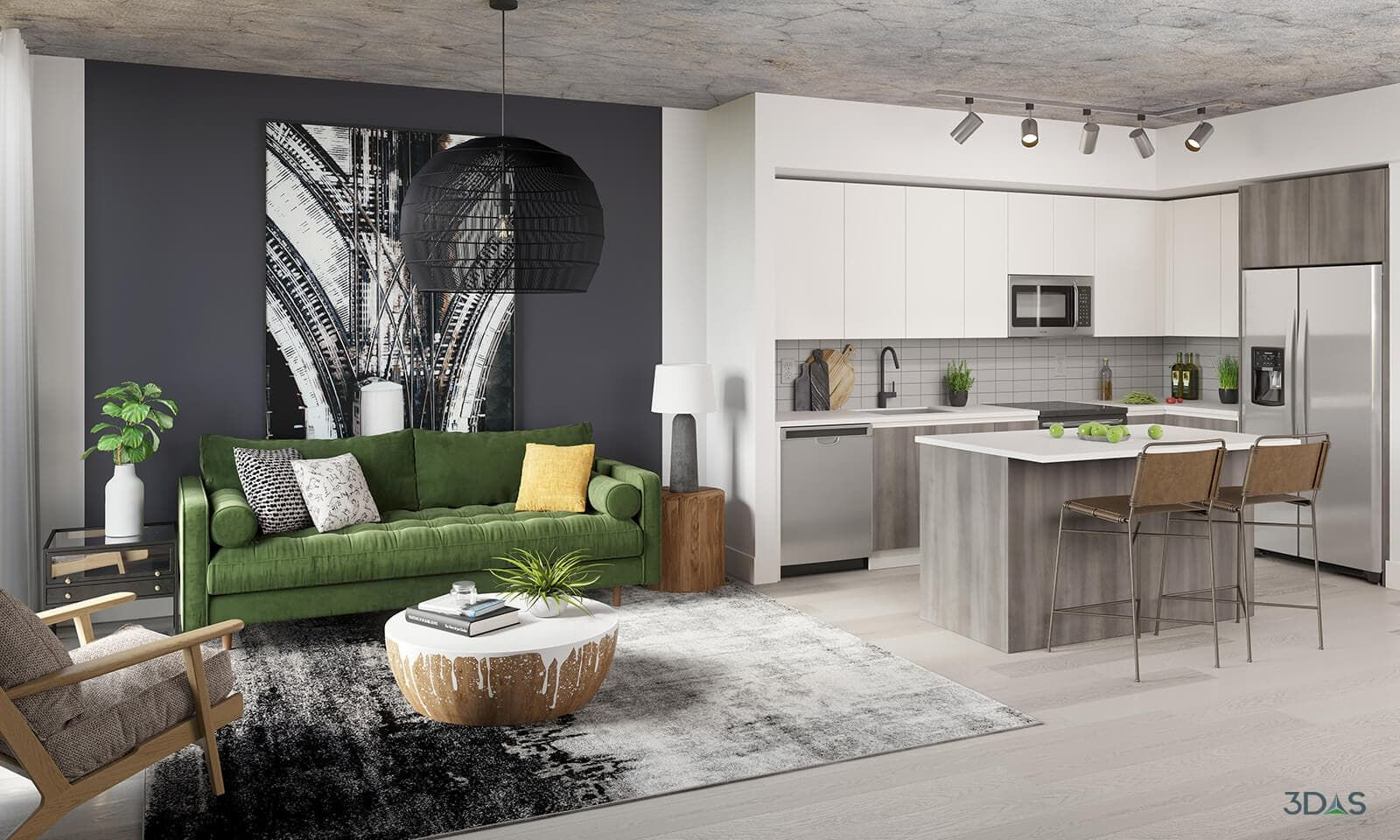 Midtown 8 Living Room And Kitchen Interior Design Renderings Interior Rendering Interior