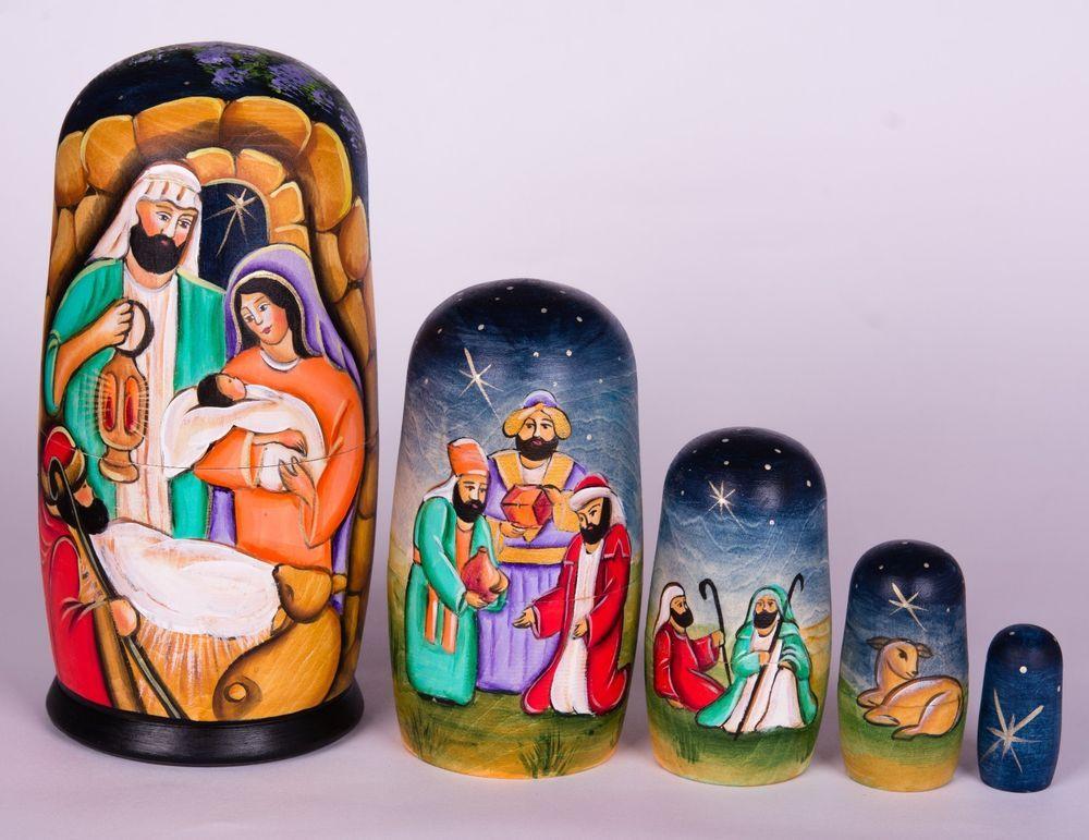 Nativity Russian Wooden Nesting Dolls Matryoshka Handpainted Cm - Hipster nativity set reimagines the birth of jesus in 2016