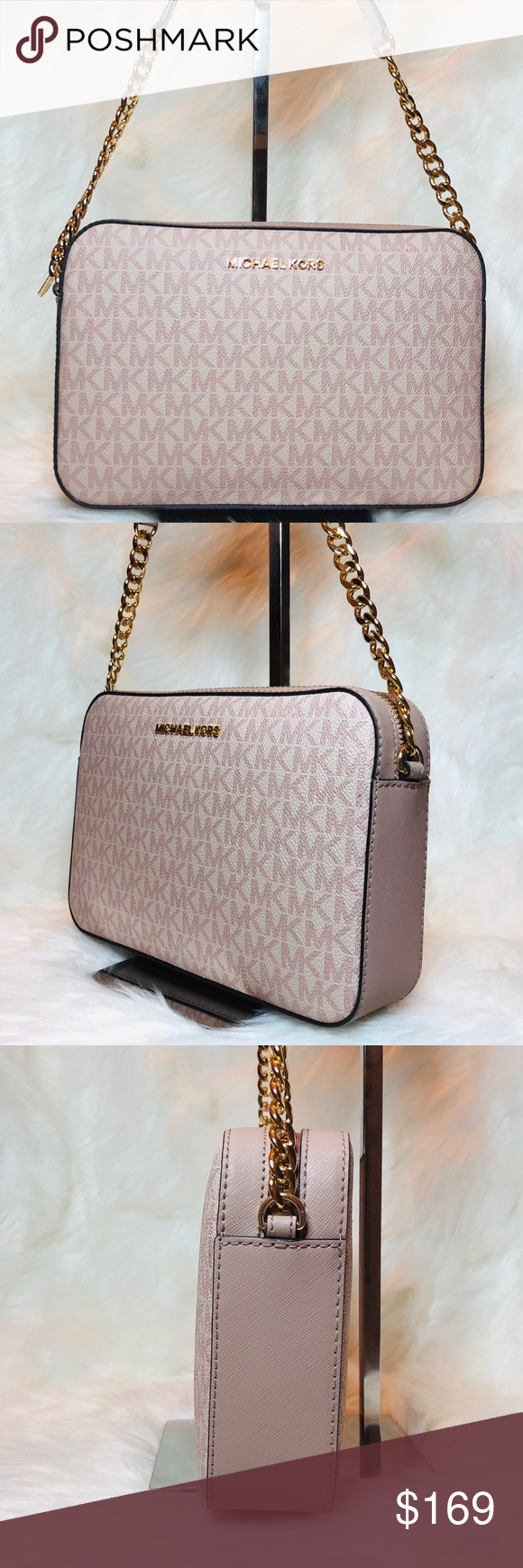 7e0b4ac90 Michael Kors Jet Set crossbody Fawn Ballet Jet Set Item Crossbody Bag MK  Signature Rose Fawn