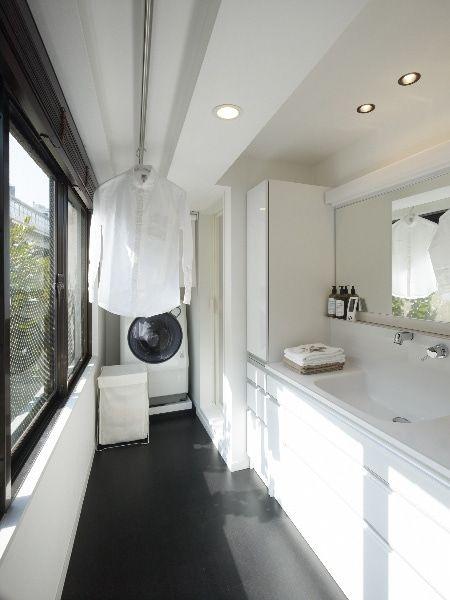 洗面所のホスクリーン やめました 自宅で 小さなランドリールーム ホスクリーン