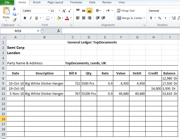 General Ledger Templates In Excel Format (xlsx)  Ledger Template Free