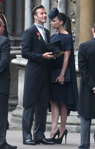 Prince William In David And Victoria Beckham Arrive At Westminster Abbey For The Royal Wedding
