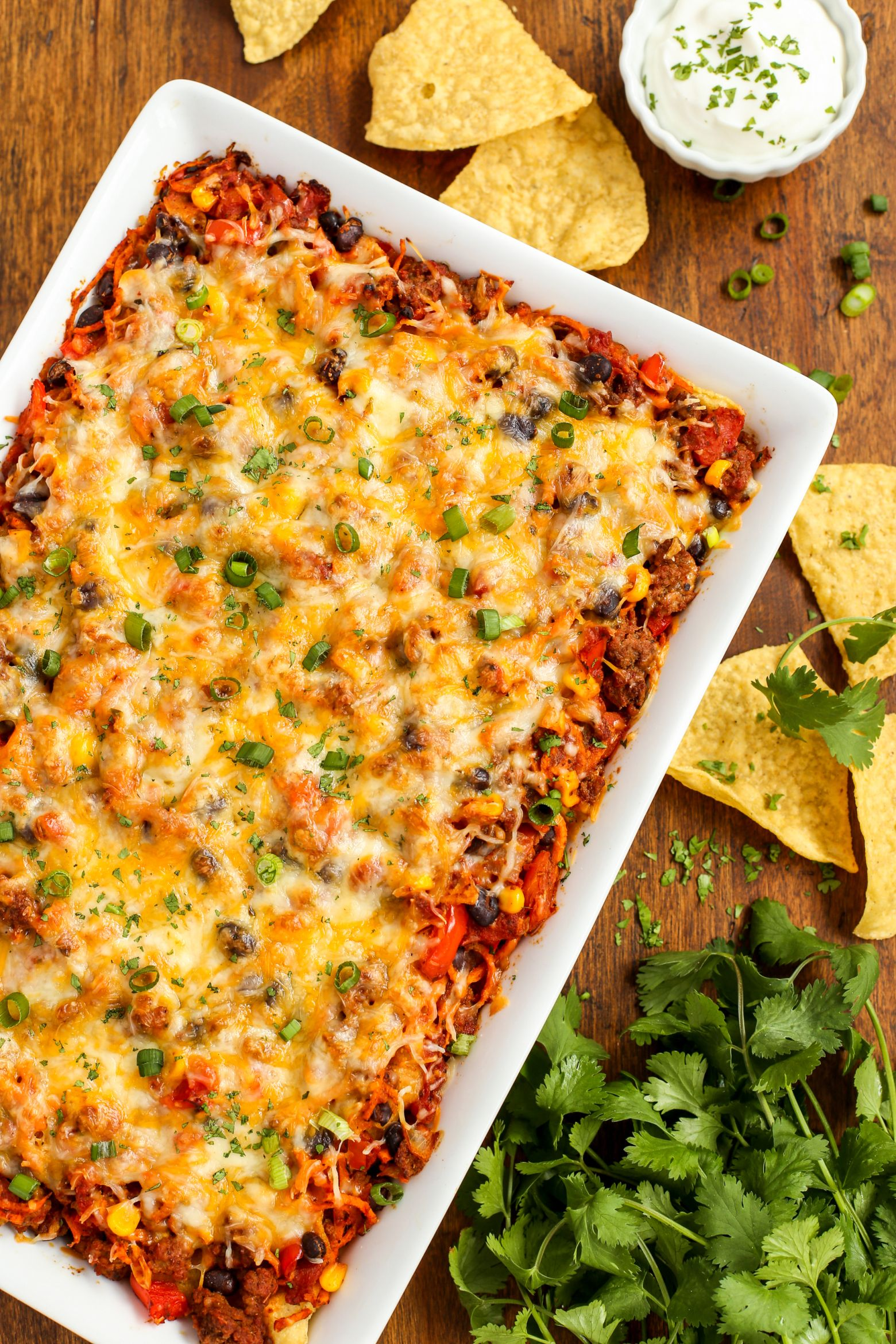 Cheesy Beef and Sweet Potato Taco Casserole #pioneerwomannachocheesecasserole
