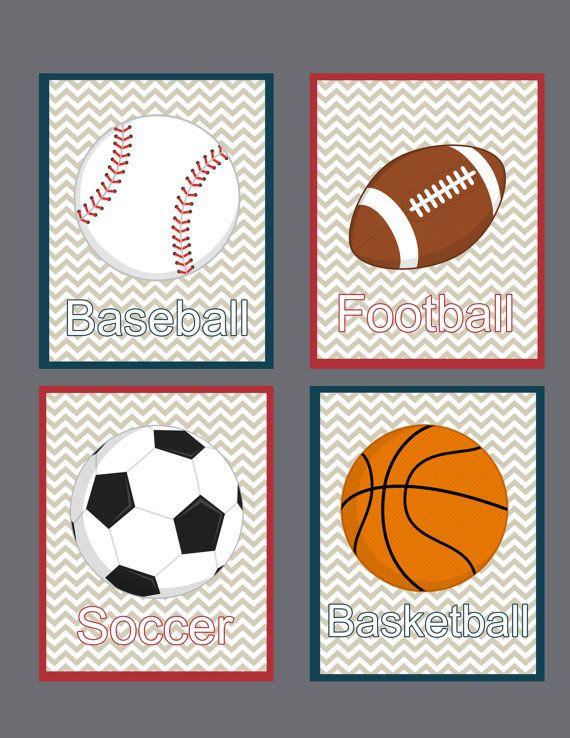 Sports Art Prints Set Of 4 8x10 Childrens Art By Theprintedowl 35 00 Children S Art Prints Nursery Prints Boy Nursery Prints