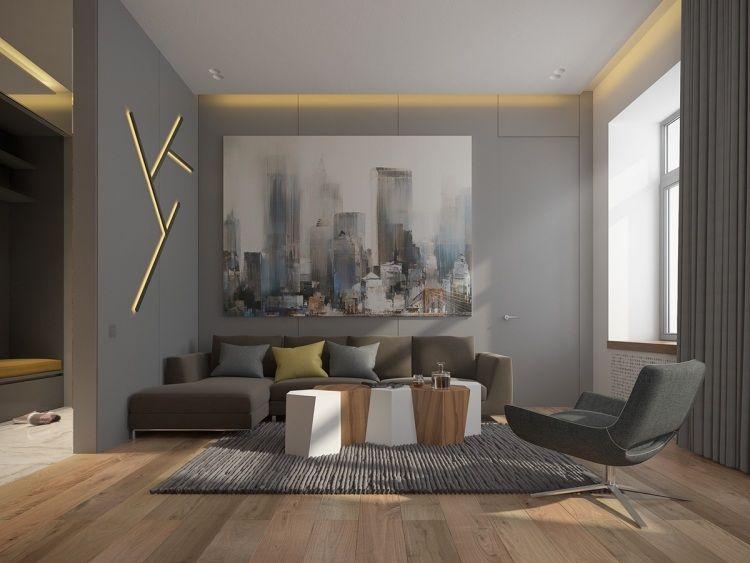 couleur gris taupe sur les murs, éclairage design et canapé droit en ...