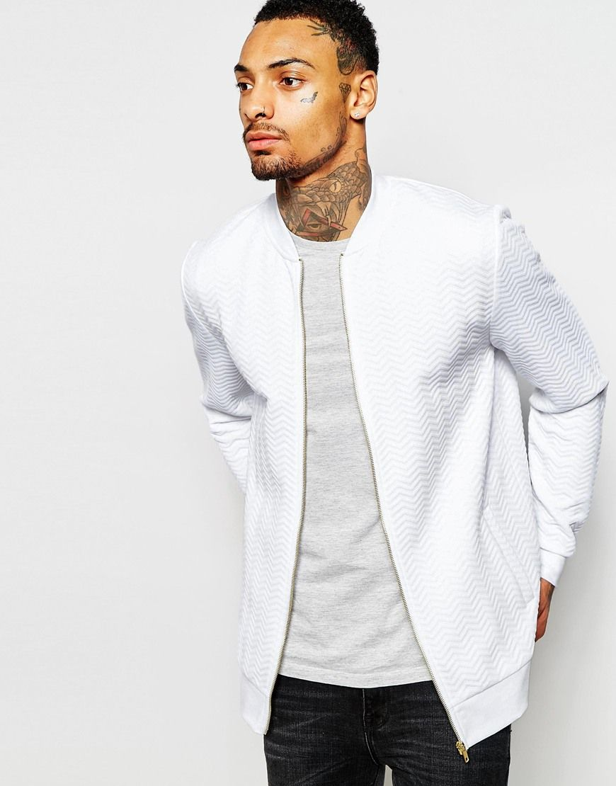 64619d87e ASOS Quilted Jersey Bomber Jacket - White in 2019 | fashion | Bomber ...