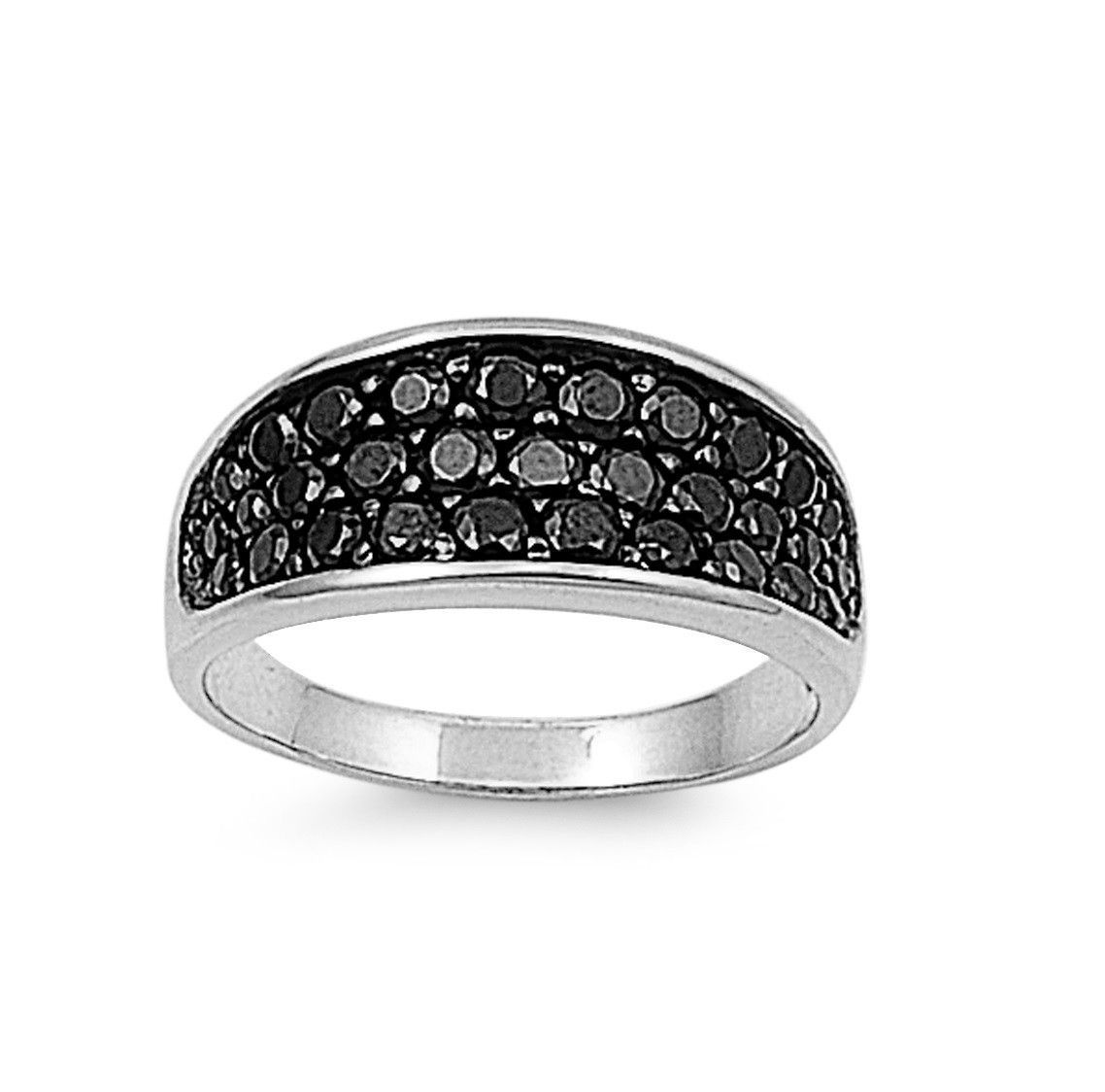 925 Sterling Silver CZ Designer Inspire Black Ring 9MM