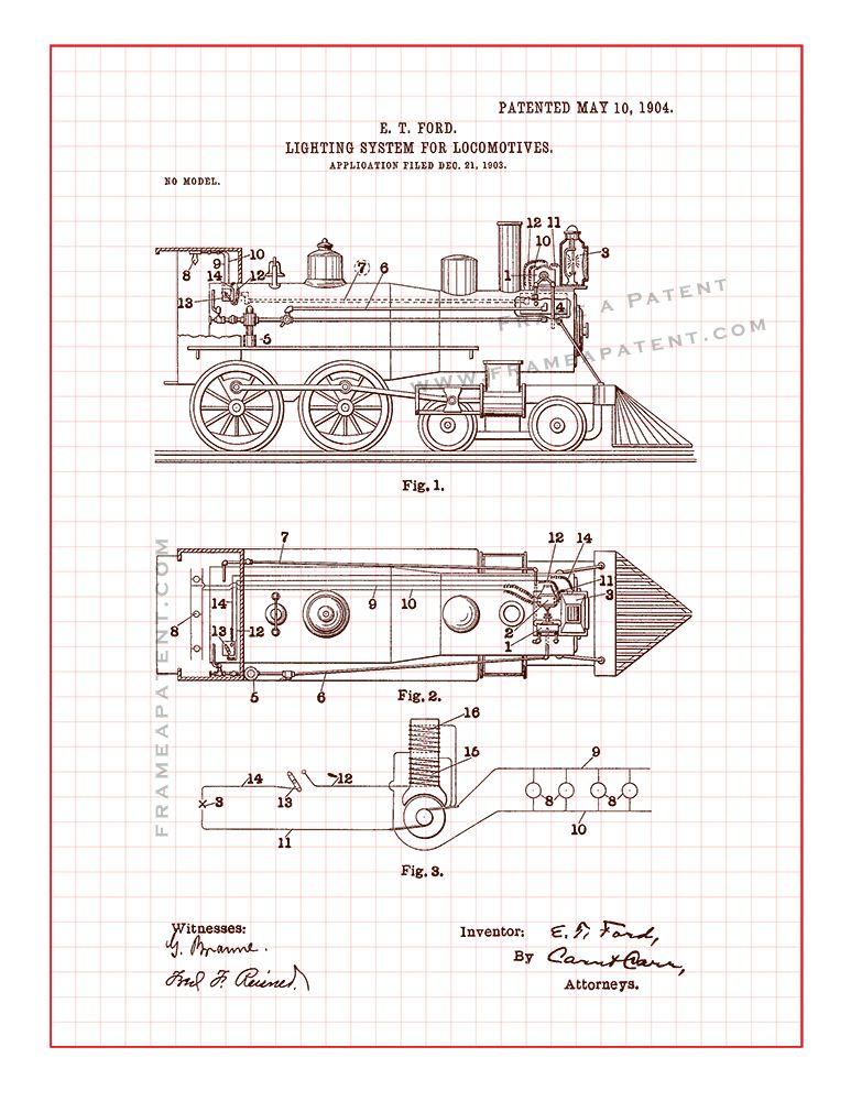 Train Light Patent Print - Red Grid (5x7)   Patents, tech drawings ...