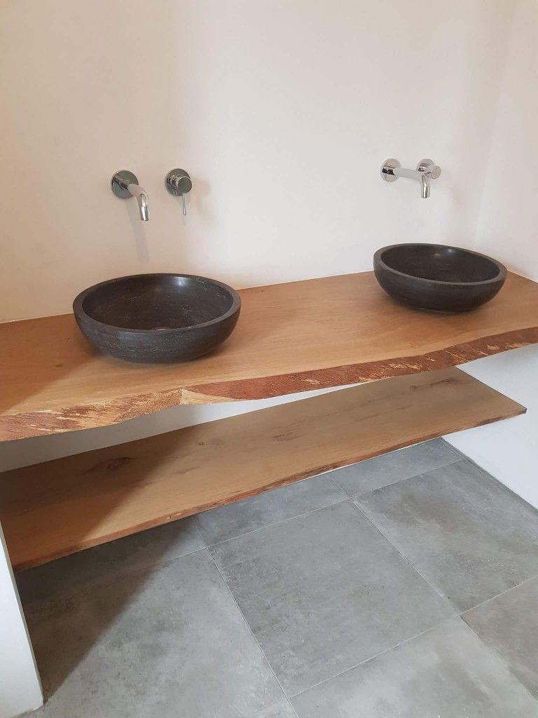 Beste Op maat gemaakte houten plank voor dubbele wastafel (met QV-33