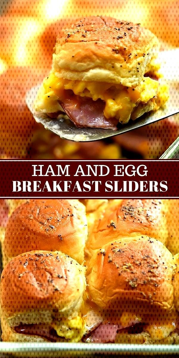 Ham Egg and Cheese Breakfast Sliders with your favorite breakfast fixings, Hawaiian rolls, and a de