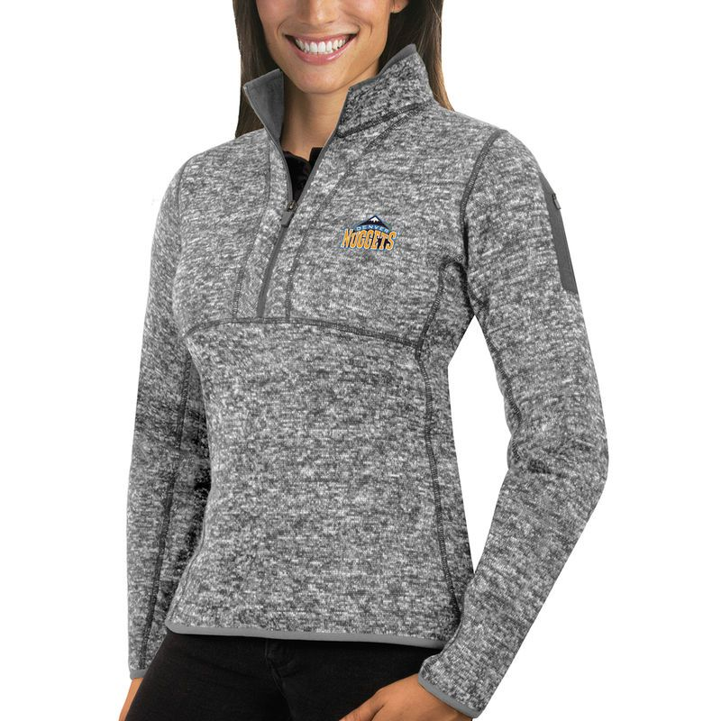 f462cd99e2b Denver Nuggets Antigua Women s Fortune Half-Zip Pullover Jacket – Heather  Gray