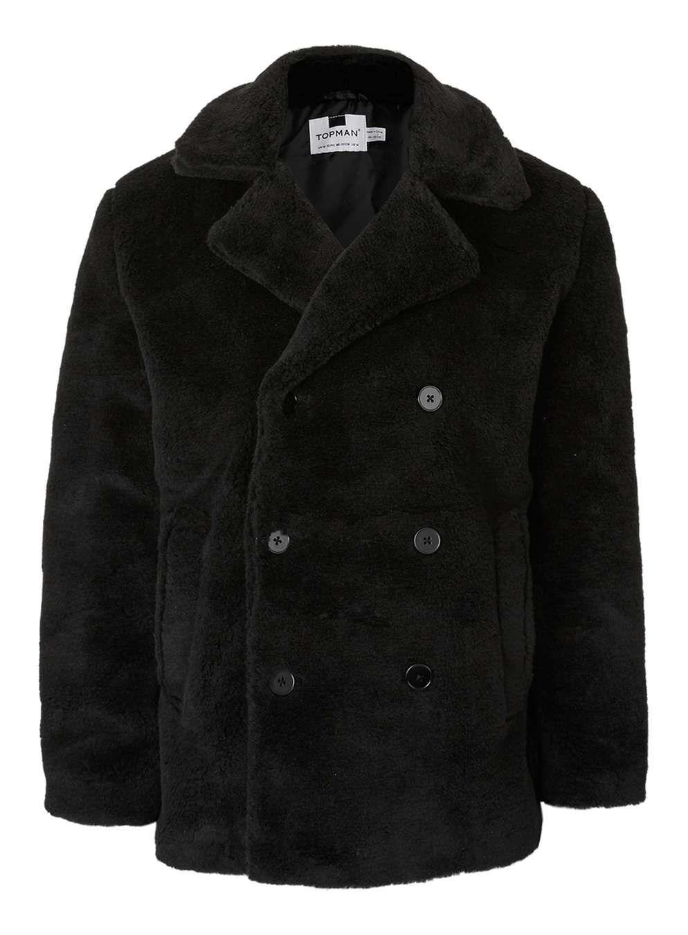 59d25d727cc Black Faux Fur Peacoat - Men s Coats   Jackets - Clothing - TOPMAN ...