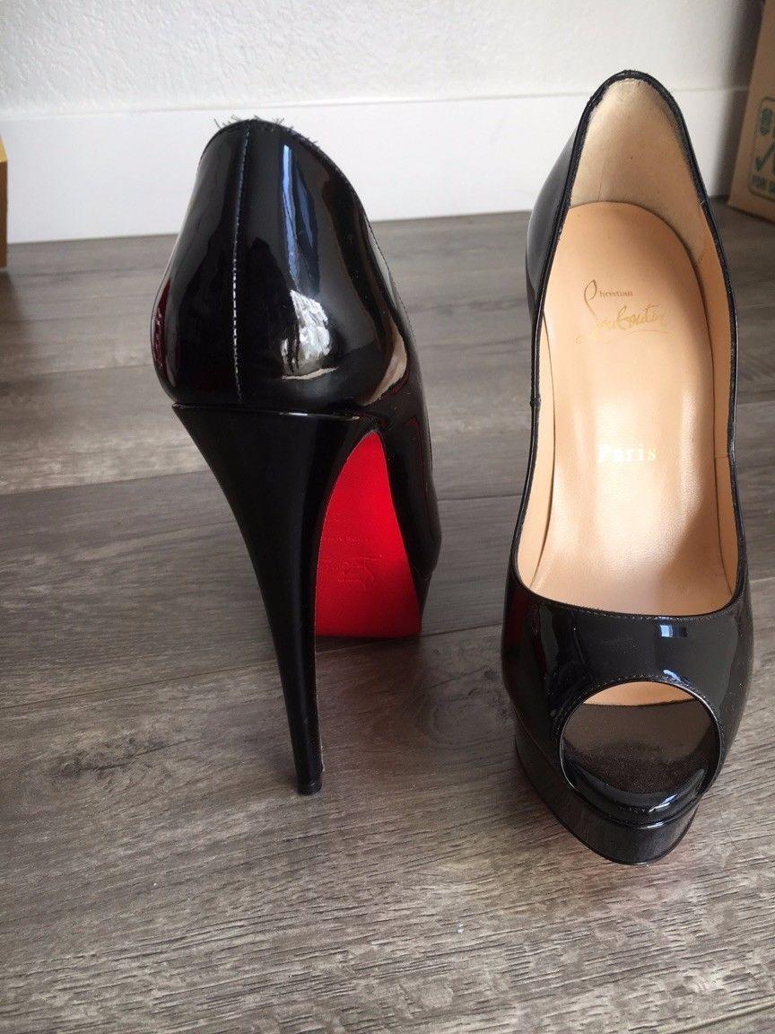 ff1c02a2cdc Christian Louboutin Black Leather Lady Peep Toe Platform Pumps Size ...