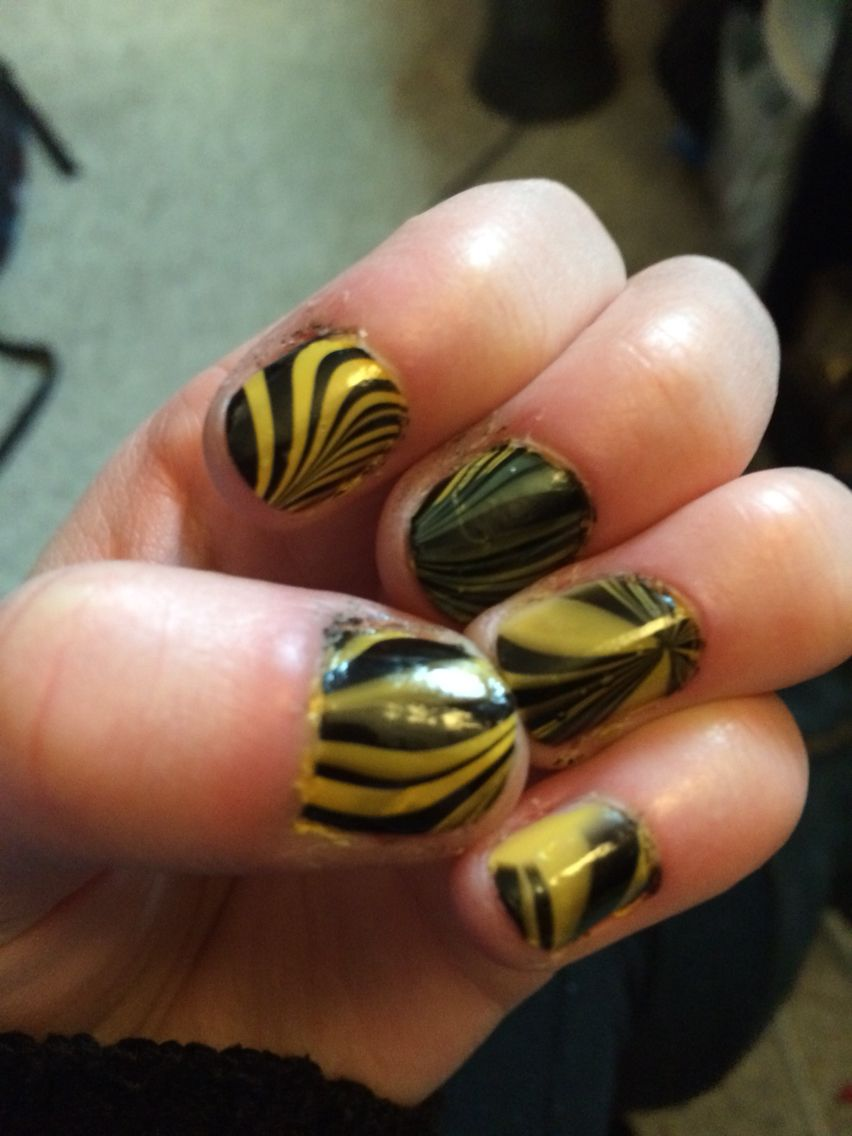 Black and yellow water marble nails nails watermarble black and yellow water marble nails solutioingenieria Image collections