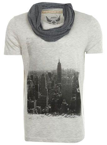 Fancy - Ecru Print Trimarl T-Shirt With Scarf - Mens T-Shirts - Clothing - Burton