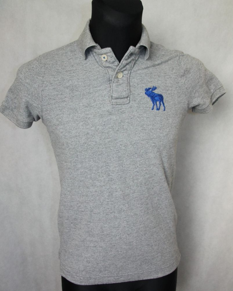 eb965e654 MEN'S ABERCROMBIE & FITCH MUSCLE FIT POLO SHIRT TOP GREY size SMALL S  #AbercrombieFitch