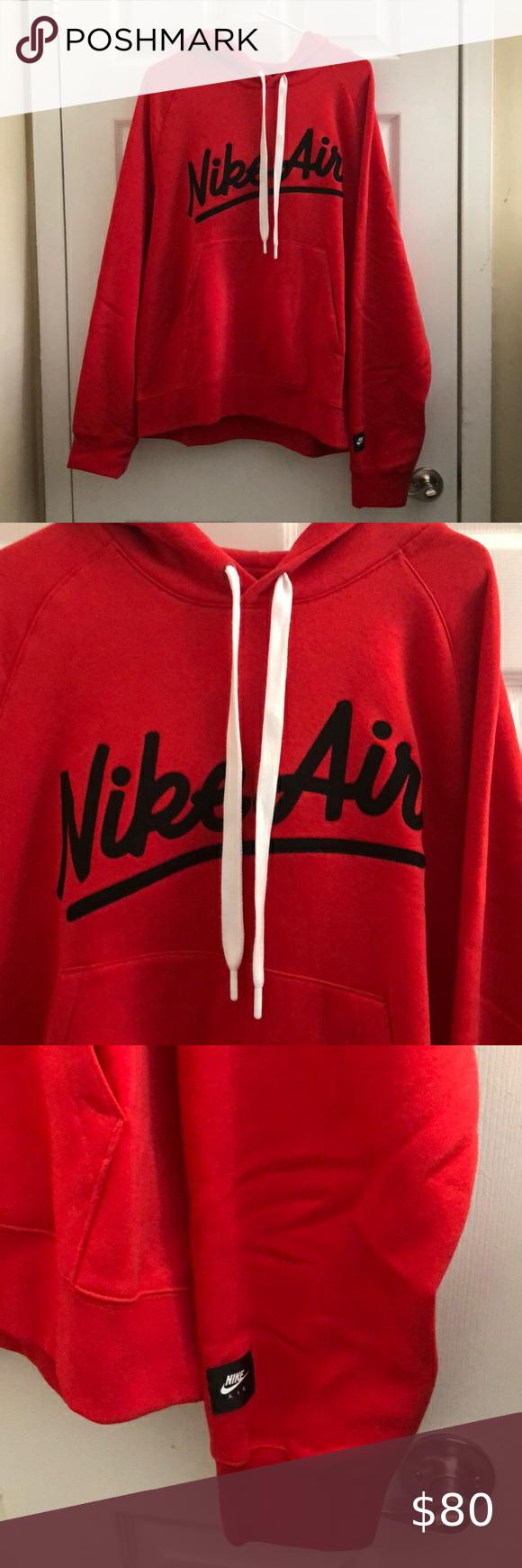 Nwt Nike Air Red Pullover Hoodie W Cursive Design Red Pullover Pullover Hoodie Sweatshirt Shirt [ 1740 x 580 Pixel ]