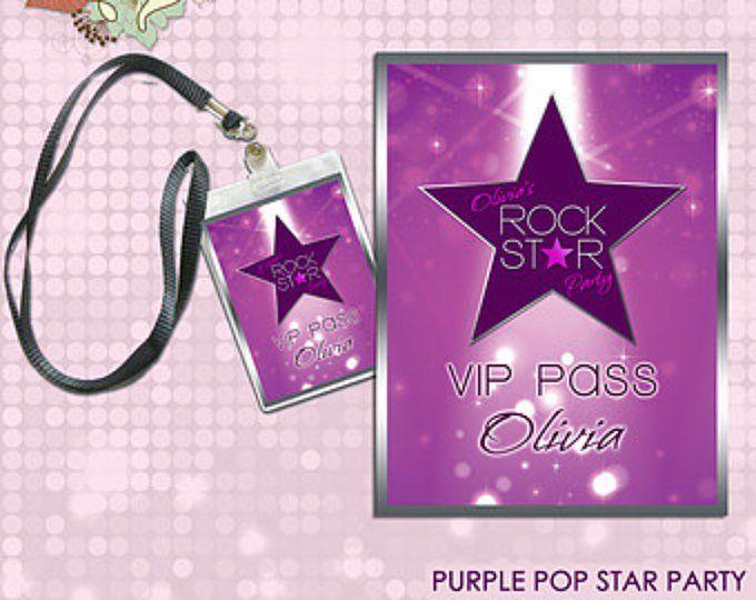 Pink Pop Star / Rock Star Party Printable VIP Pass / Lanyard | Etsy #rockstarparty