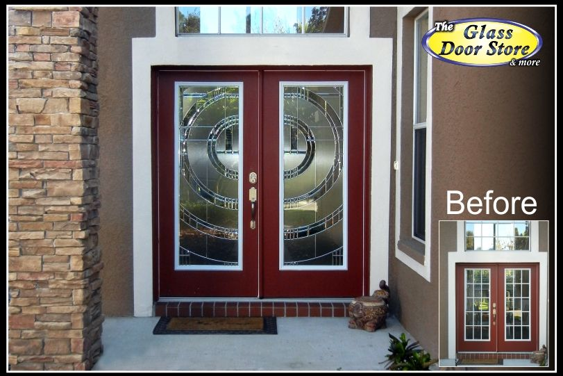 Modern Double Doors With Circle Design That Joins In The Middle We Replaced The Clear Glass In The Ex Glass Front Entry Doors Entry Doors Exterior Entry Doors