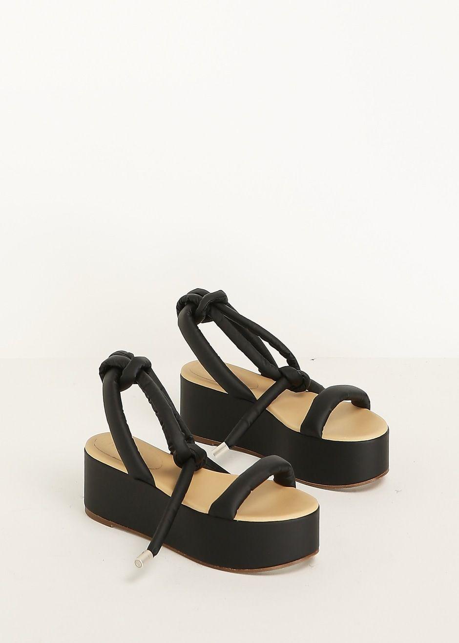 f7a6c7fae38 MM6 Maison Martin Margiela Tie Wedge Sandal (Black)